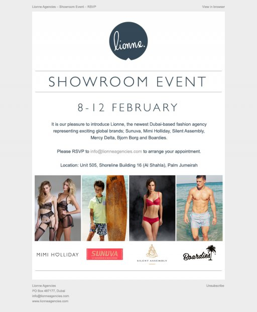 Lionne Showroom Event Email Mark Hinxman